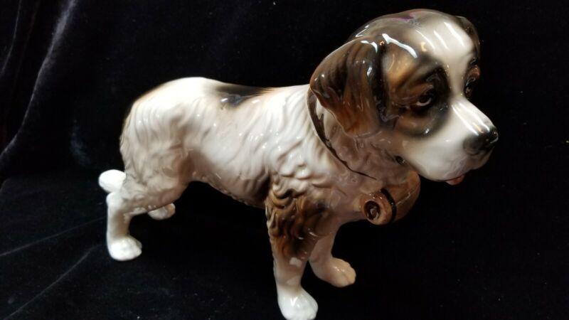 "German/Austrian Saint Bernard Porcelain Dog Figurine with ""V"" Mark"