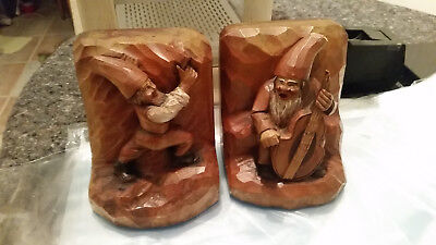 Anri Hand Carved Wood Bookends Vintage Two Musical Gnomes