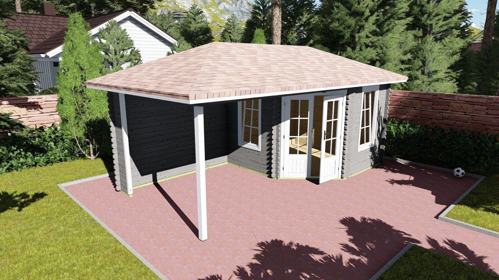 5-eck gartenhaus modern mit terrasse, 5.8x3m blockhaus