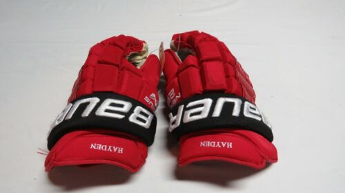 "Used John Hayden Bauer Nexus 2N Pro Stock NJ Devils 14"" Hockey Gloves! MeiGray"