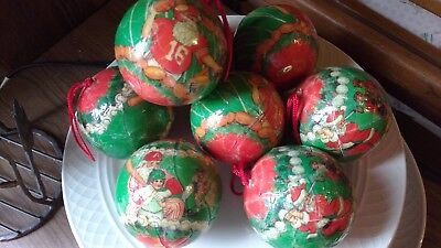 Vtg Papier Mache Christmas Tree Ball Ornament Santa  Golf Baseball Football -
