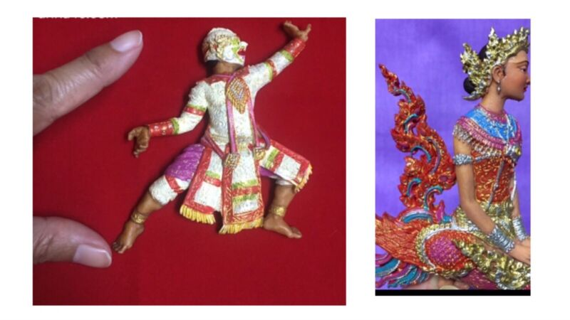 Thai souvenir collectibles handmade hand painted resin lot of 2 pieces