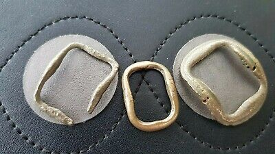 Lot of three bronze 16/17 hundreds buckles. Please read description. L140L