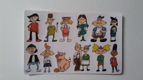 12 Hey Arnold! Nickelodeon 90s anime fantasy stickers kawaii cartoon