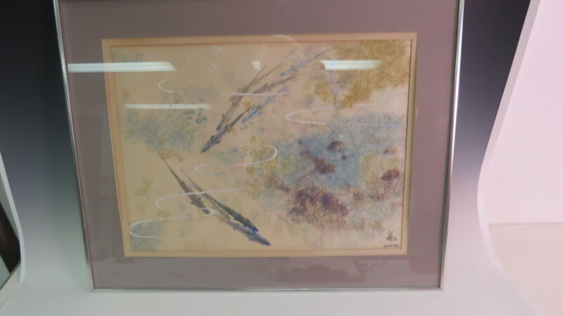 Signed Japanese watercolor of fish