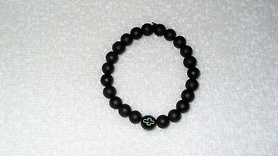 Frosted Glass Black Green Cross Bead Stretch Bracelet Jewelry Religious Men's