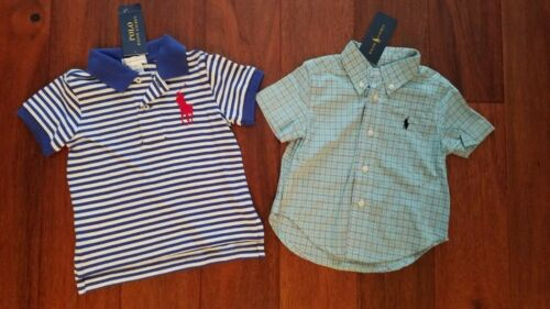 NWT Polo Ralph Lauren Boys Blue Big Pony Button Front Shirts Top 9 Months Lot