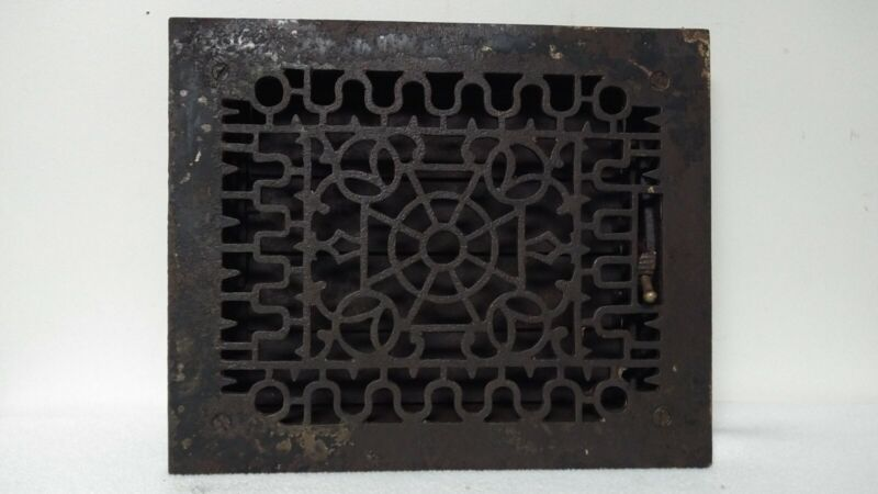 """ANTIQUE ORNATE CAST IRON FLOOR GRATE W/LOUVERS - FITS INTO 8"""" X 10"""" OPENING"""