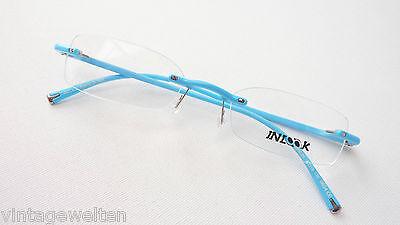 Randlos Brille Plastik Gestell leicht ohne Rahmen himmelblau Flexbügel Grösse M