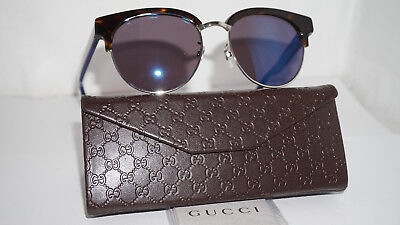 GUCCI New Sunglasses Havana Blue Mirror GG0058SK 004 55 18 145