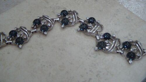 Trifari Moghul Style Bracelet, Rhodium Plated, Saphires