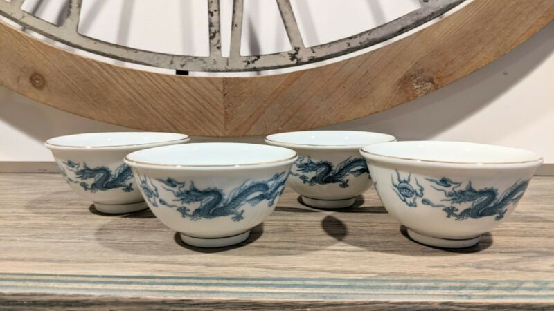 Set Of Four Vintage Blue And White Dragon Rice Bowls