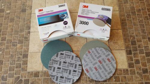 3M 02085 & 30662 Trizact Foam Discs, 6 inch, 3000 & 5000 grit (4 Sheets Total )