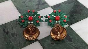 Unusual 1950s Pair Vintage Enamel Holly & Bell Christmas Brooches New Lambton Newcastle Area Preview