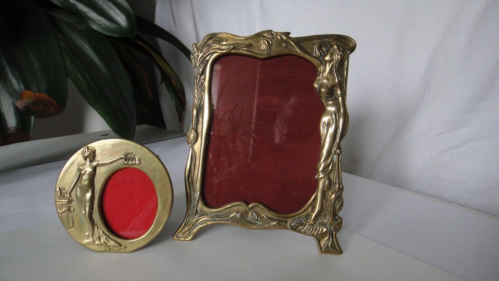 Jugendstil Bilderrahmen Messing oder Bronze massiv