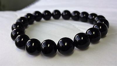"Genuine Black Onyx Bead Bracelet for Men (On Stretch) 10mm - 8"" inch AAA Quality"