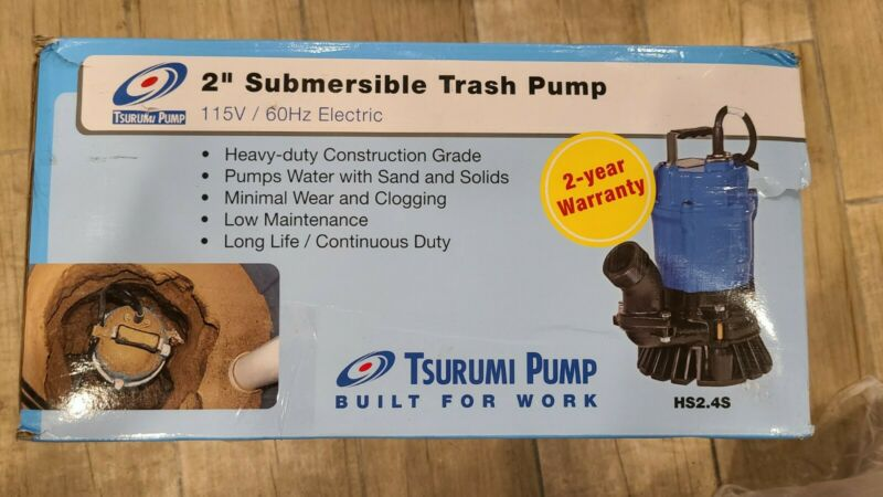 "Tsurumi HS2.4S-62, 2"" Submersible Trash Pump with Agitator, 53 GPM, 1/2 HP"
