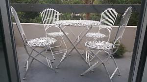 White Folding Wrought Iron Table & Chairs (4) Lane Cove North Lane Cove Area Preview