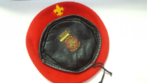 Old Vtg Boy Scouts Of America Official 100% Wool Red Baret BSA Size Large