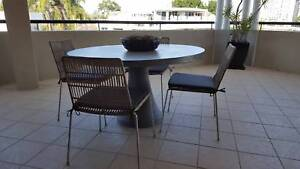OUTDOOR LOUNGE, CHAIRS & COFFEE TABLE / CONCRETE TABLE AND CHAIRS
