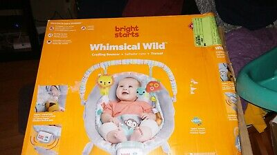 Bright Starts Whimsical Wild Cradling Bouncer Seat Soothing Vibration & Melodies
