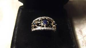 14ct YG Diamond & Sapphire Filligree Ring Koo Wee Rup Cardinia Area Preview