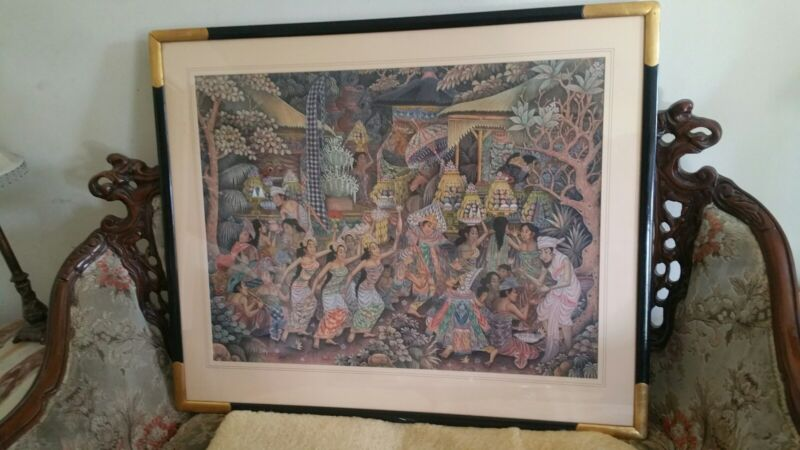 INDONESIAN Bali traditional folk art silk painting dance Kutuh Ubud framed large