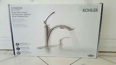 Kohler Linwood Pull-Out Kitchen Faucet Stainless Steel R29670 w/ Soap Dispenser