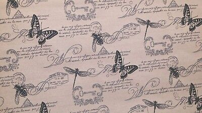 3YD CLARIDGE BUGS SO WISE BUTTERFLIES BEES LINEN LOOK JACQUARD UPHOLSTERY FABRIC