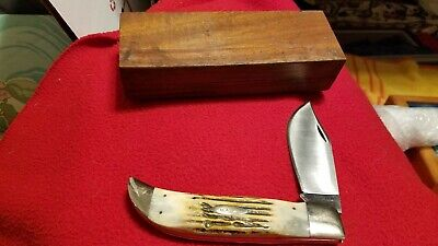 VINTAGE CASE XX USA 4 DOT 5172 SSP GENUINE STAG KNIFE - RAZOR EDGE IN WOOD BOX