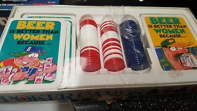 Vintage Poker Cards Beer Is Better Than Women Set Chips 1980