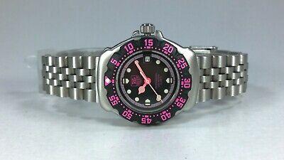 TAG Heuer F1 Formula One Ladies Mini Quartz Watch Black PINK Dial Date Box