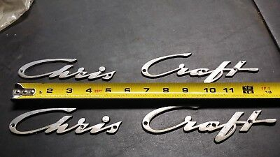 CHRIS CRAFT METAL BOAT NAME EMBLEMS CHROME.
