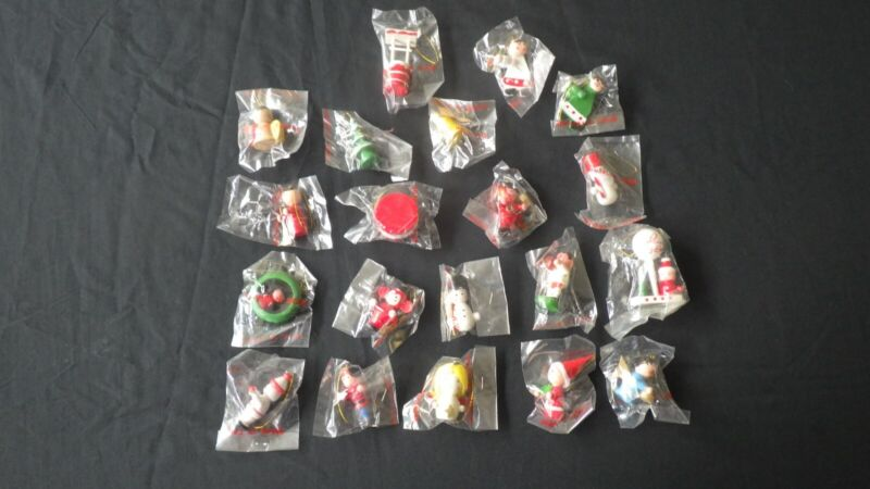 Lot of 20 Vintage Made in Taiwan Mini Hand Painted Wooden Christmas Ornaments
