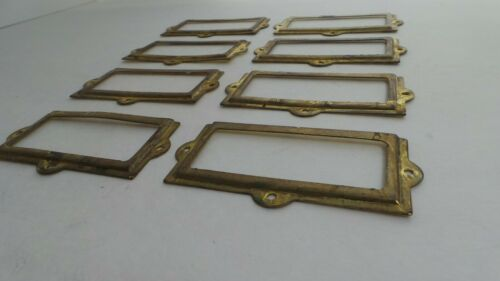 8 REAL ANTIQUE OLD BRASS DRAWER LABEL HOLDERS CARD FRAMES LABORATORY SALVAGE