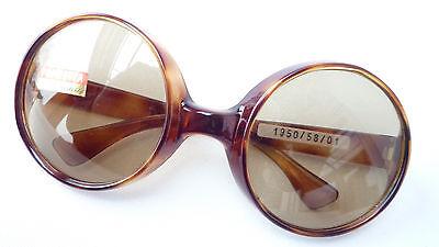 Vintage Sonnenbrille getönt Echtglas große runde Form ausgefallen braun Gr. L