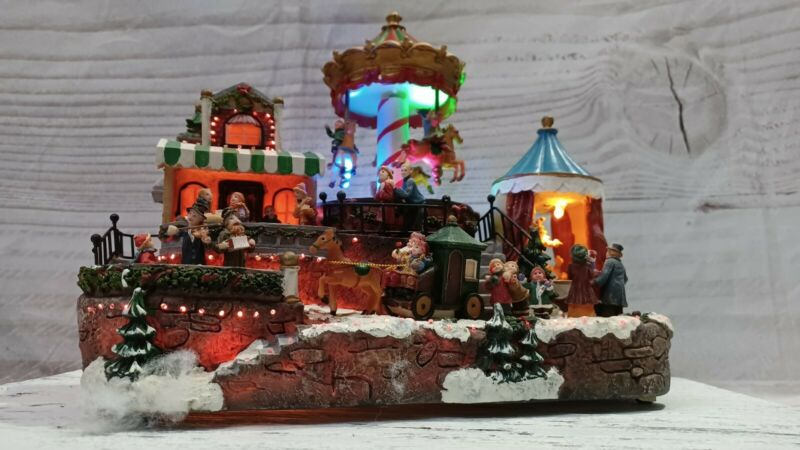 """Vintage K-Mart Large Trime A Home 10"""" Fiber Optic Scene With Box And Adapter"""