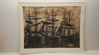 Vintage Lithograph Art Print Bernard Buffet The Black Ships