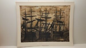 Vintage Lithograph Art Print Bernard Buffet The Black Ships
