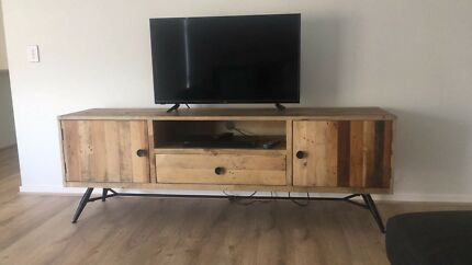 Industrial timber low tv unit