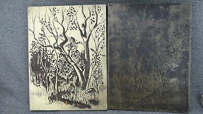 Lot Of 2 80s Linocut Stamp Linoleum Print Block Hand Carved By Ted Hogsett 86