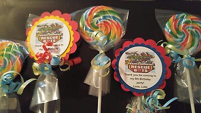 Giant Swirl Lollipops (12 Transformer Rescue Bots 4th 5th Birthday Candy Jumbo 3