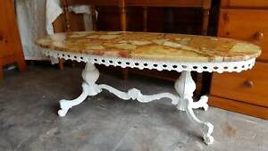 VINTAGE MARBLE COFFEE TABLE WITH WHITE METAL DECORITIVE BASE