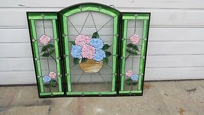 Leaded Glass Fire place screen  Floral design Hydranges ()