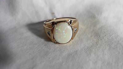 MID CENTURY MEN'S OPAL RING SIZE 9 ½ 10K YELLOW GOLD VINTAGE