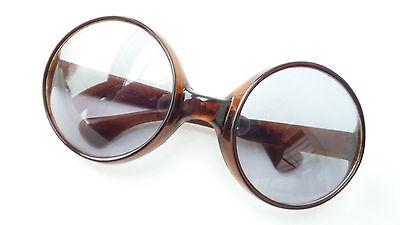 Vintage Damen-Sonnenbrille braun, übergroße runde Gläser made in Italy  Gr. L