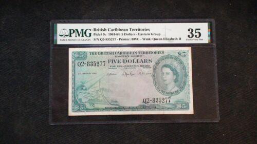 RARE 1961-64 BRITISH TERRITORIES PMG VF35 Five Dollar Note $5 Bill Starts At .99