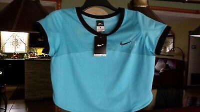 New Women's Nike Dri FitT-shirt L Blue Crop Top Tennis Tank Serena