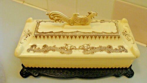 Vintage Asian Plastic Trinket/Jewelry Box with Dragons & Phoenix Bird on The Top