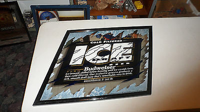 BEAUTIFUL 1993 BUDWEISER ICE DRAFT BEER BAR MIRROR SIGN
